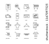 set of 16 simple line icons... | Shutterstock .eps vector #1167097525
