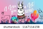 i love you a lot. llama  alpaca ... | Shutterstock .eps vector #1167116158