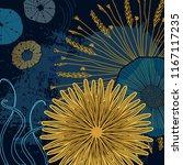 navy yellow floral cosmic print.... | Shutterstock .eps vector #1167117235