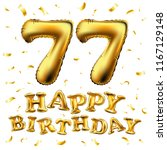 raster copy happy birthday 77th ... | Shutterstock . vector #1167129148
