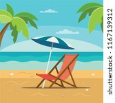 beach chaise longue with...   Shutterstock . vector #1167139312