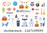 set of cute halloween... | Shutterstock .eps vector #1167149095