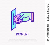hand inserting coin in payment... | Shutterstock .eps vector #1167151792