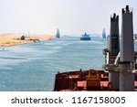 cargo ship passing through suez ... | Shutterstock . vector #1167158005