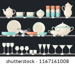 showcase with glassware dish or ... | Shutterstock .eps vector #1167161008