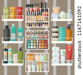 bathroom shelves with skincare... | Shutterstock .eps vector #1167161092