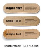 Three abstract vintage old paper banners / stickers / badges