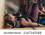 fitness woman doing pilates... | Shutterstock . vector #1167165268