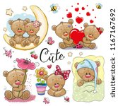 set of cute cartoon teddy bear... | Shutterstock .eps vector #1167167692