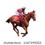 Stock photo jockey riding a horse horse racing isolated on white background 1167195322