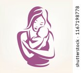 mother and baby stylized vector ... | Shutterstock .eps vector #1167198778