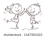 boy and girl jumping with joy... | Shutterstock .eps vector #1167201322
