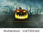 halloween pumpkin in creepy...   Shutterstock . vector #1167202162