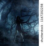 ghost woman in the woods 3d... | Shutterstock . vector #1167202258