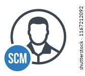 human flat icon with word scm... | Shutterstock .eps vector #1167212092