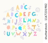 colorful geometrical alphabet ... | Shutterstock .eps vector #1167231982