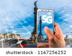 smartphone with 5g on screen... | Shutterstock . vector #1167256252