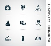 shipment icons set with moped ... | Shutterstock .eps vector #1167269845