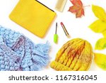 yellow cosmetic bag  blue... | Shutterstock . vector #1167316045