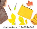 autumn flat lay photo. brown... | Shutterstock . vector #1167316048
