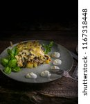 julienne with mushrooms  cheese ... | Shutterstock . vector #1167318448
