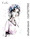 hand drawn beautiful young... | Shutterstock .eps vector #1167327502