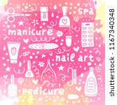 poster with cute doodle nail...   Shutterstock .eps vector #1167340348