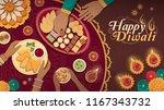 family celebrating diwali at... | Shutterstock .eps vector #1167343732