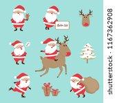 set of cartoon santa claus.... | Shutterstock .eps vector #1167362908