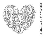 love lettering coloring page ... | Shutterstock . vector #1167363328