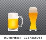 glasses with splashing beer ... | Shutterstock .eps vector #1167365065