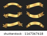 ribbon banner set. golden... | Shutterstock .eps vector #1167367618