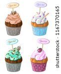 set of cupcakes different... | Shutterstock .eps vector #1167370165