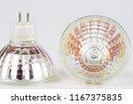 halogen bulb on a white table.... | Shutterstock . vector #1167375835