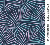 tropical palm leaves pattern... | Shutterstock .eps vector #1167383425