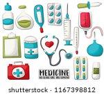 medicine and healthcare set of... | Shutterstock .eps vector #1167398812