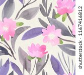 seamless watercolor floral... | Shutterstock . vector #1167416812
