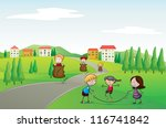 illustration of a kids in a... | Shutterstock . vector #116741842