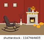 red living room with fireplace... | Shutterstock .eps vector #1167464605