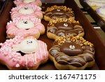 donut  chocolate  glaze  color.   Shutterstock . vector #1167471175