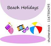 summer holiday hat flip flops... | Shutterstock .eps vector #1167504295