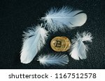 golden bitcoin coin with... | Shutterstock . vector #1167512578
