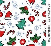 christmas seamless doodle... | Shutterstock .eps vector #1167519508