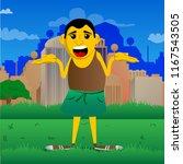 yellow man shrugs shoulders... | Shutterstock .eps vector #1167543505