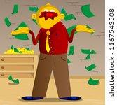 yellow man shrugs shoulders... | Shutterstock .eps vector #1167543508