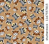 Seamless Pattern. Raccoon And...