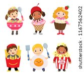 vector cartoon of cute kids in... | Shutterstock .eps vector #1167562402
