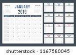 2019 year calendar  calendar... | Shutterstock .eps vector #1167580045