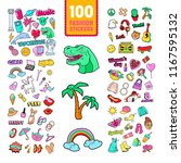 girlish doodle with rainbow and ... | Shutterstock .eps vector #1167595132