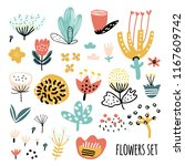cute set of abstract flowers.... | Shutterstock .eps vector #1167609742